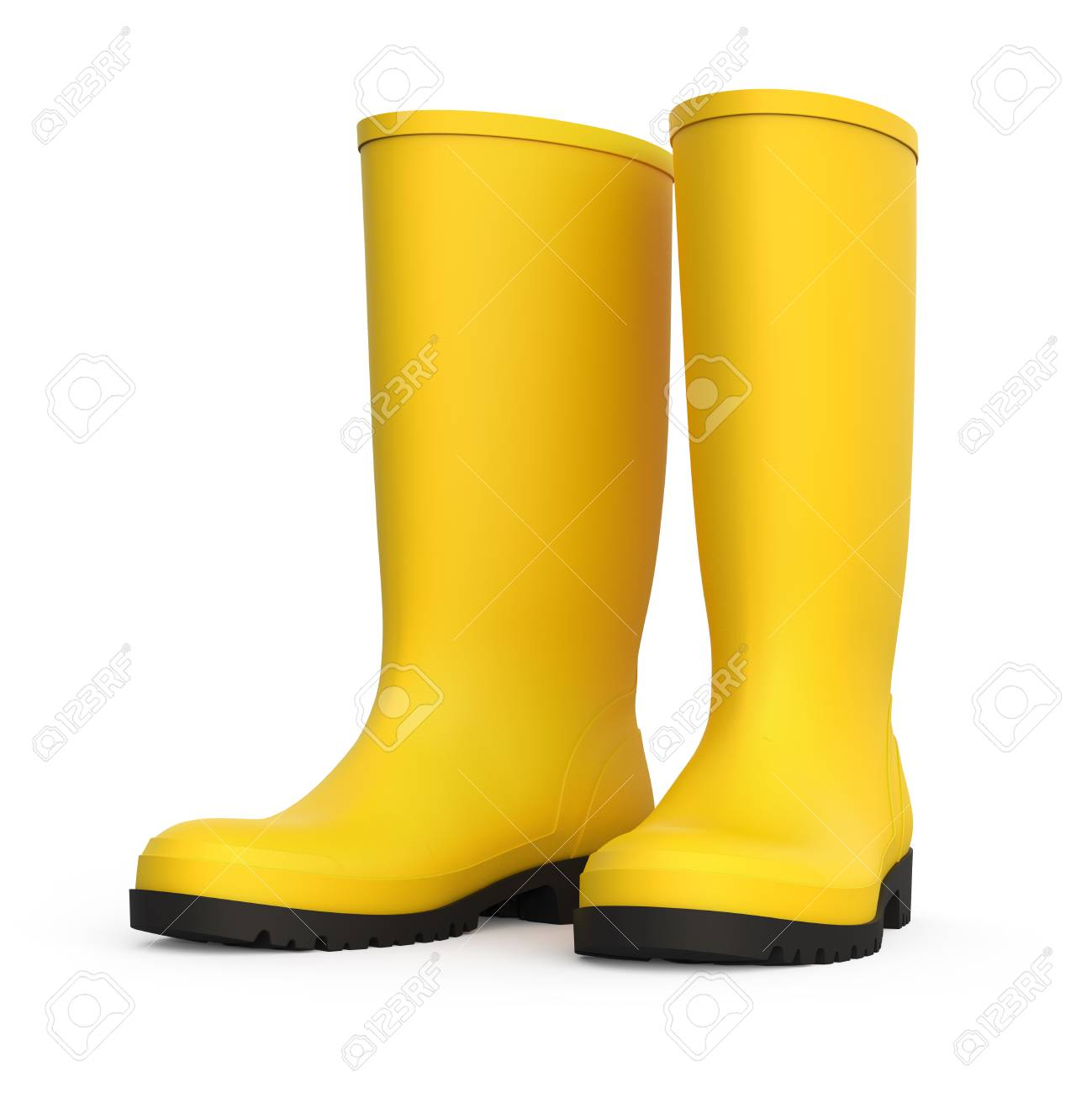 245cc0f9585ff A pair of yellow rain boots isolated on white background 3D rendering Stock  Photo - 95093498