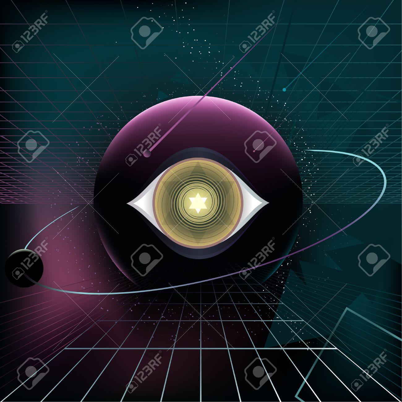 Planet Eye Cosmic 80's Retro Style Background, vector illustration