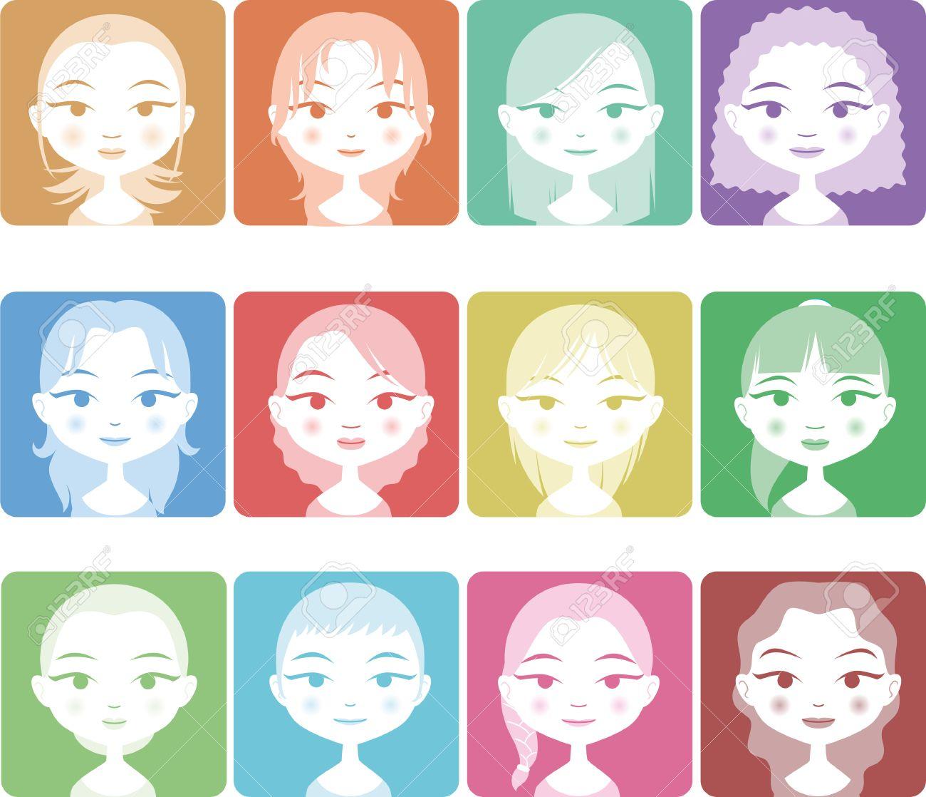 Kopf Und Schulter Avatar Mädchen Menschen Set In Farbe Mit Zwölf