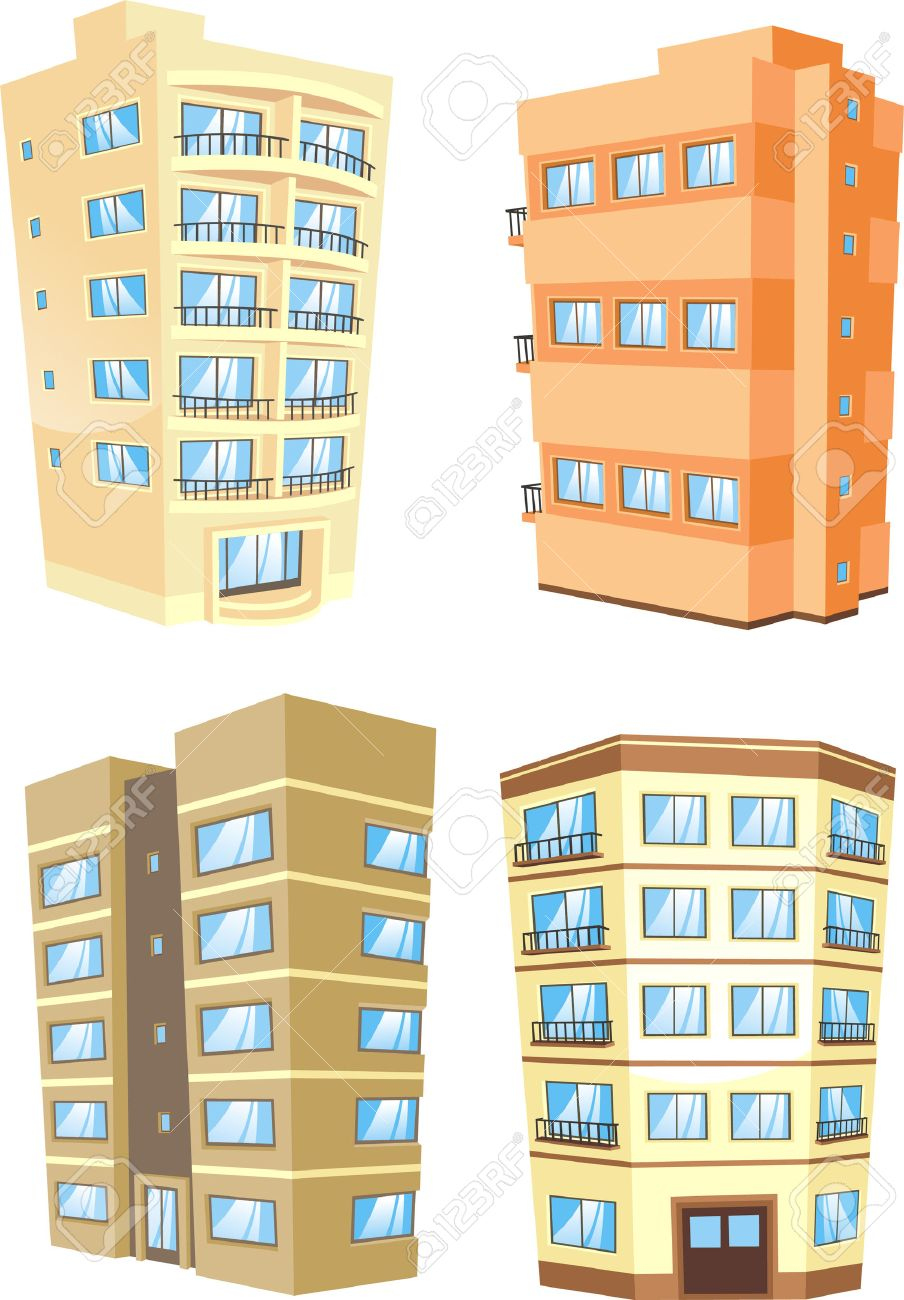 Apartment Building Illustration cartoon apartment building collection. royalty free cliparts