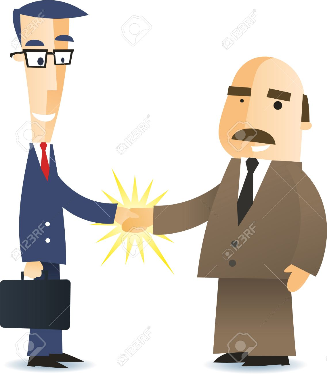 Two Business Men Shaking Hands Closing A Deal Cartoon Illustration ...