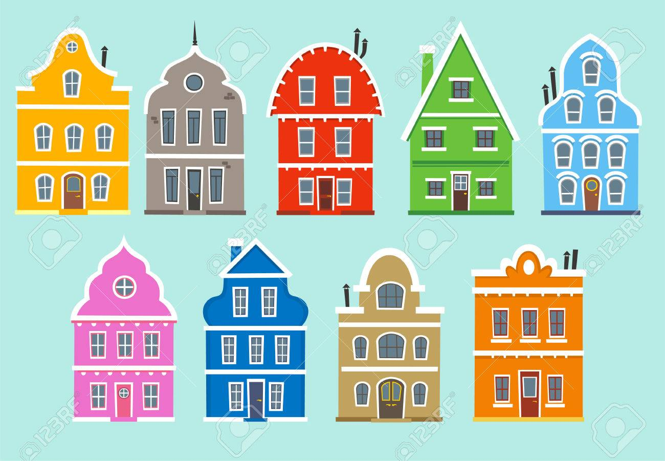Color Houses set of nine colored houses (facades). with color apartment house