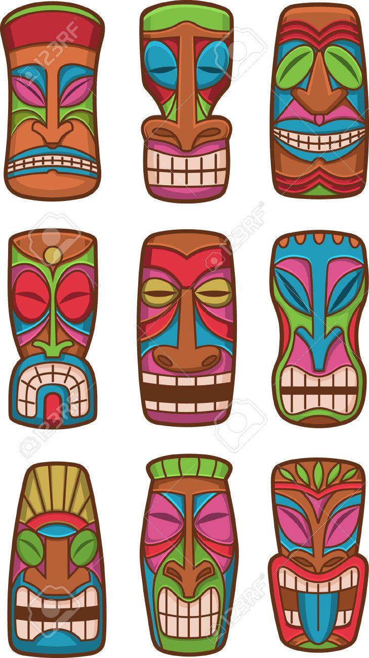 Hawaiian tiki god statue carved polynesian tikki ku lono wood set banco de imagens hawaiian tiki god statue carved polynesian tikki ku lono wood set vector illustration stopboris Images