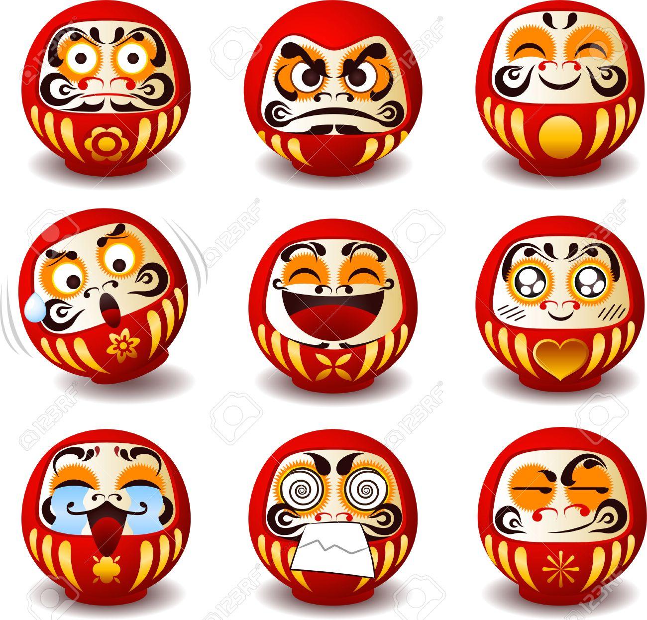 Daruma, Daruma, Dharma-Puppe, Dharma, Runde, Traditionelle ...