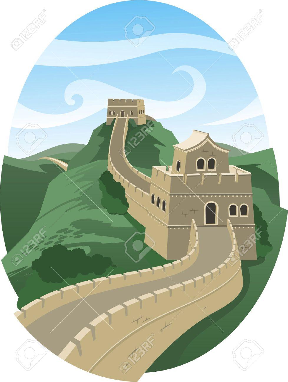 写真素材 , 万里の長城の風景イラスト