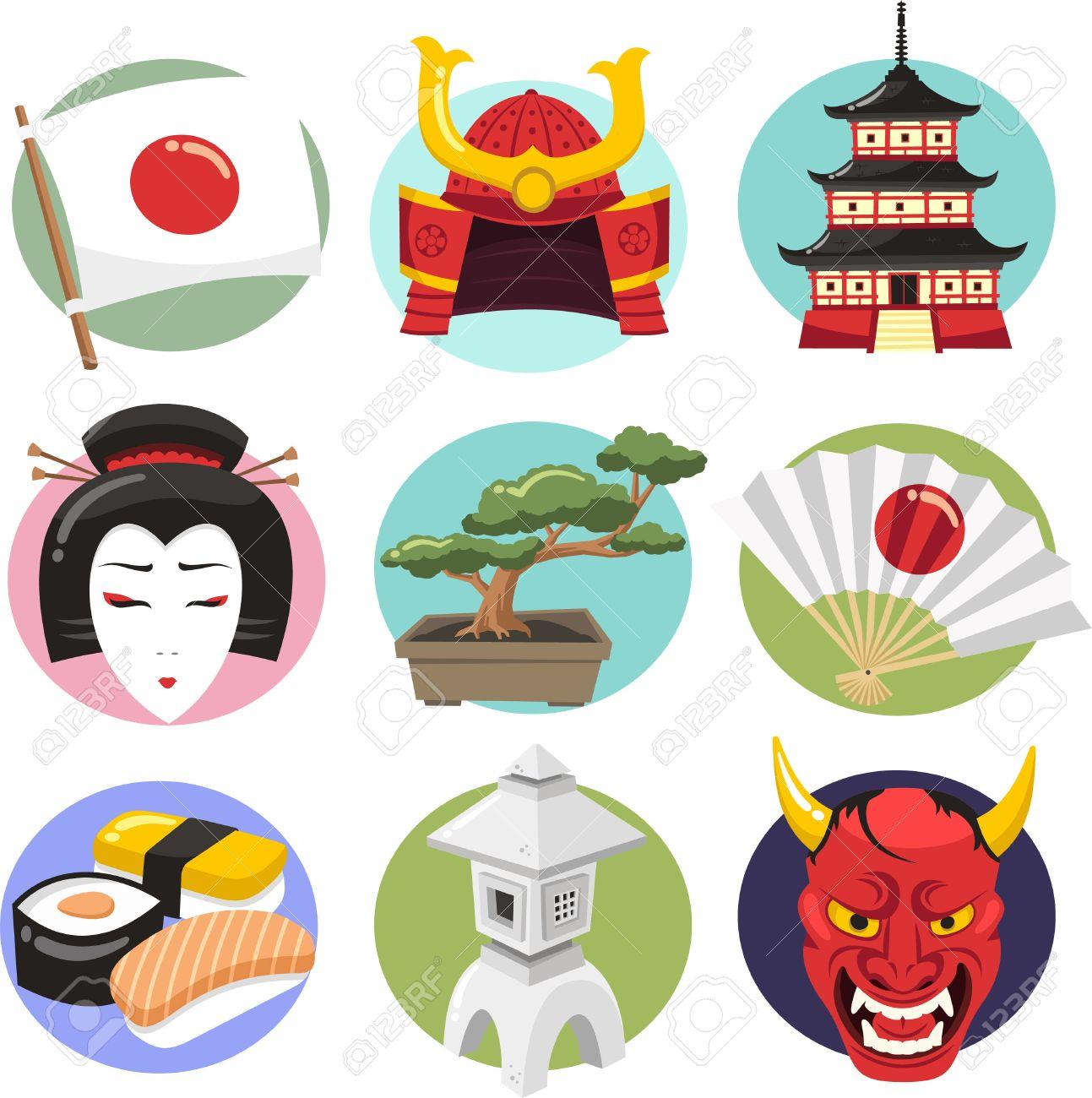 Japan Icon Set Japanese Lifestyle Icons With Woman Demon Oni Samurai