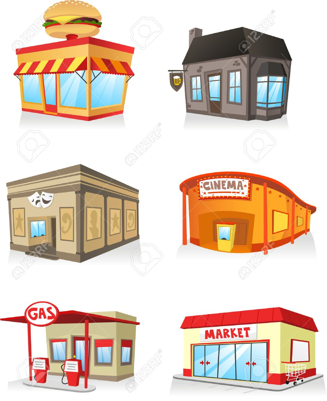 Building cartoon clipart restaurant building and restaurant building - Public Building Cartoon Set Fast Food Restaurant Cinema Gas Station Theatre