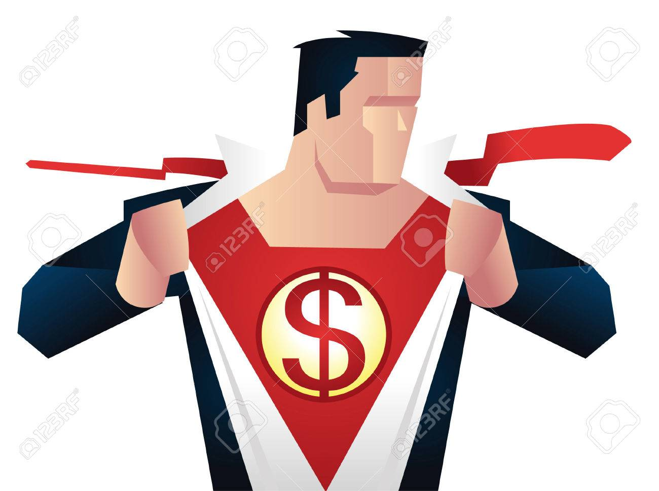 superhero with dollar sign on his chest with red superhero costume