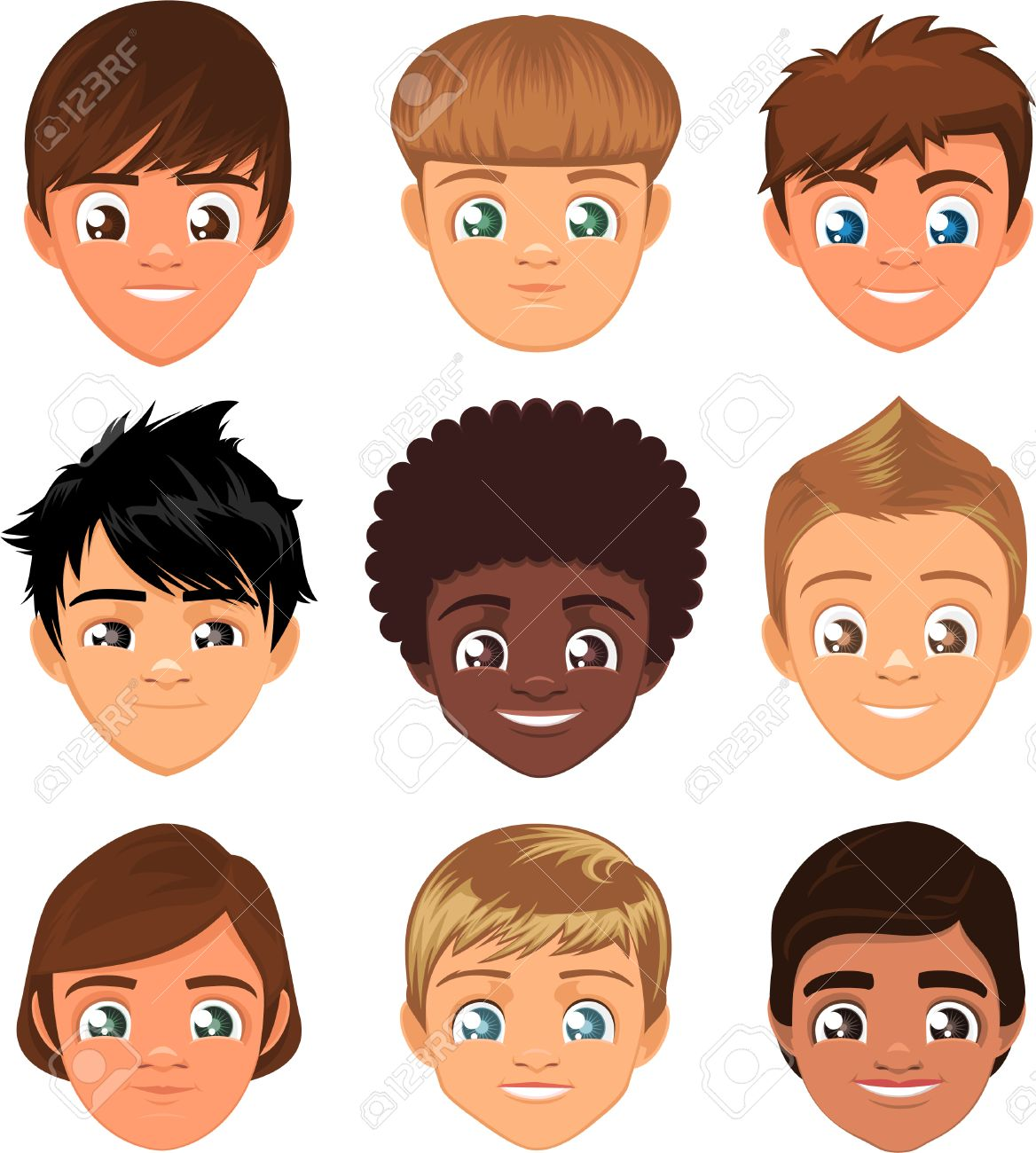 Little Boys Head Faces Avatar Profile Cartoon Special Character