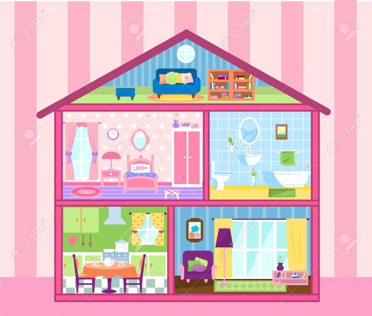 Zwei Etagen GeschossPuppenHaus Mit Niedlichen Dachboden Puppenhaus Wohnzimmer Bad Essen Und Schlafraum Vektor