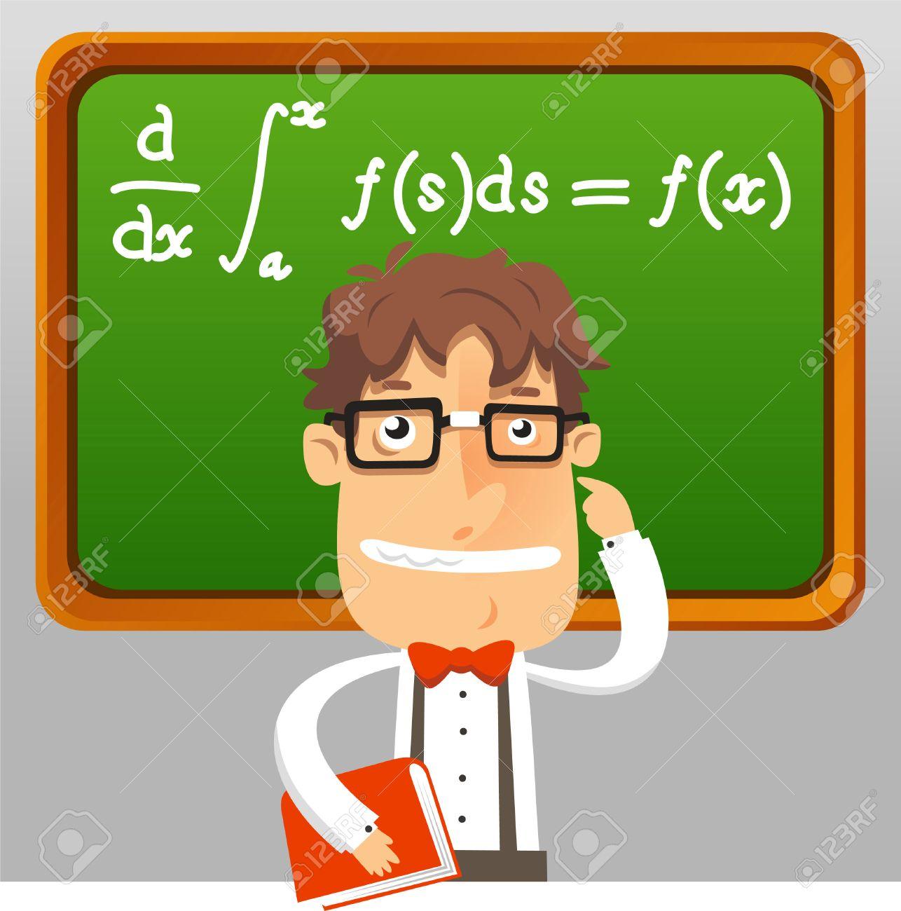 Nerd Teacher Math Geek Holding Book Teaching Maths Formula On ...