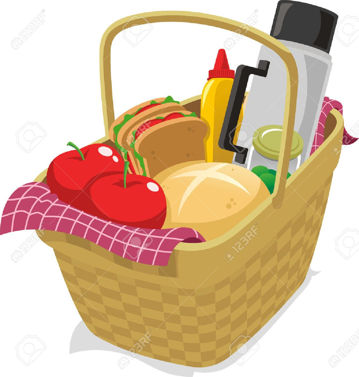Picnic Basket Filled With Food Cartoon Illustration Royalty Free Cliparts Vectors And Stock Illustration Image 33787493