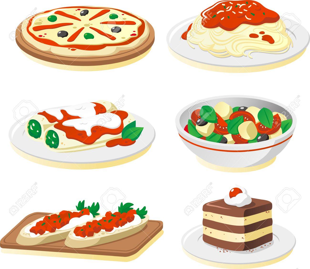 イタリア料理の料理漫画イラスト セットのイラスト素材ベクタ Image