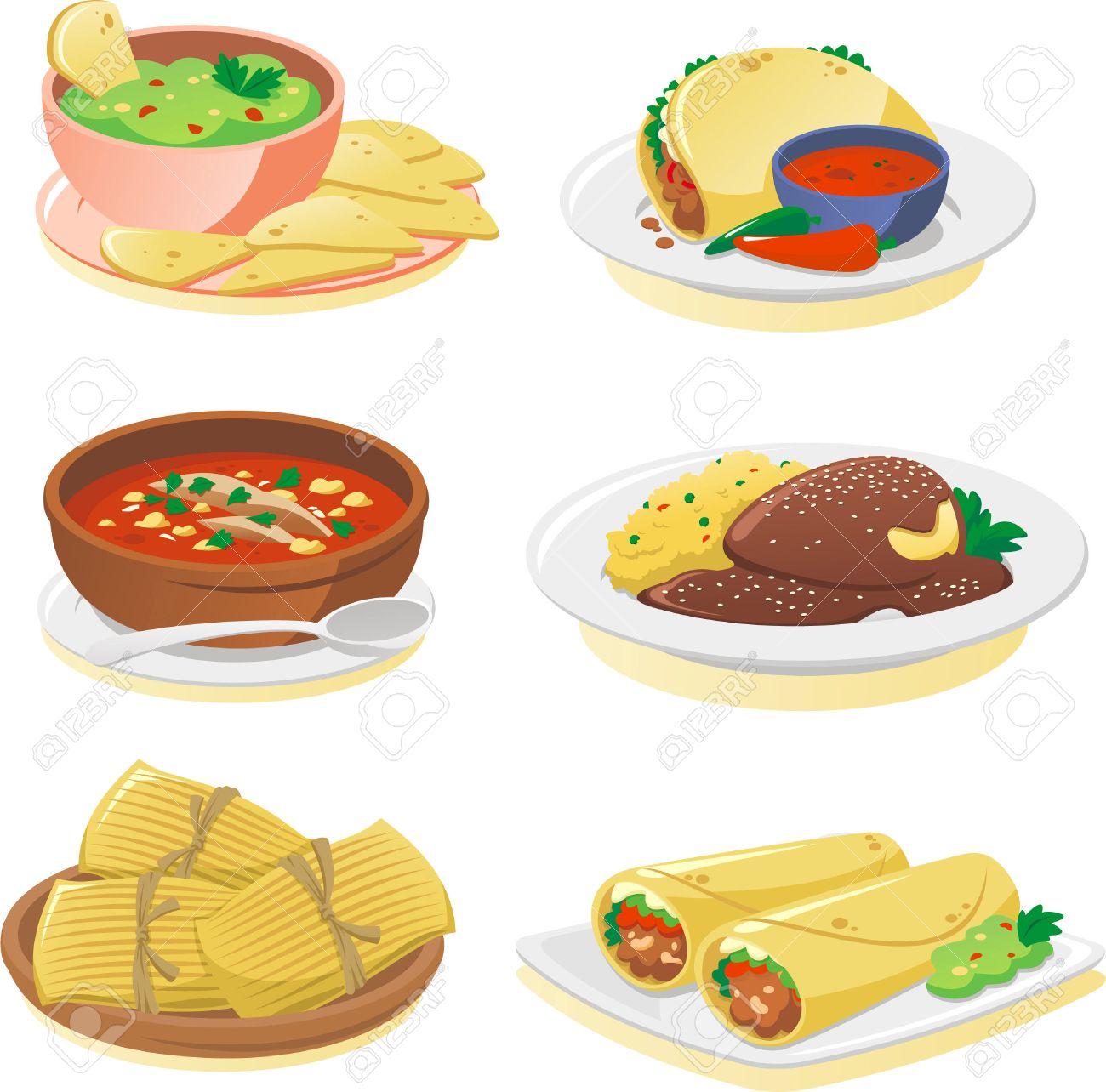 archivio fotografico messicana piatti della cucina fumetto illustrazione set
