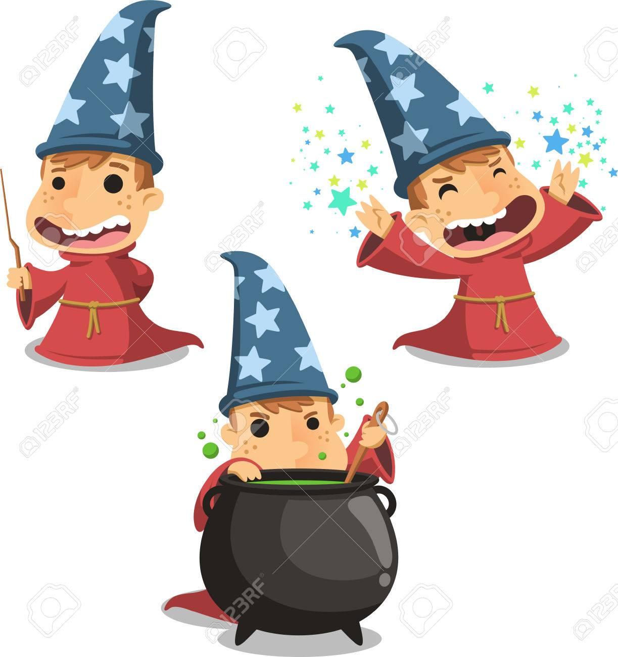 ウィザードの魔術師子ベクトル イラスト漫画のイラスト素材ベクタ