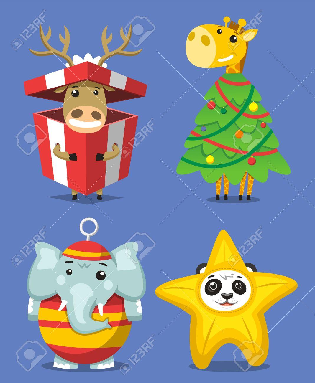 Christmas Animals, Reindeer In A Christmas Present Box, Giraffe ...
