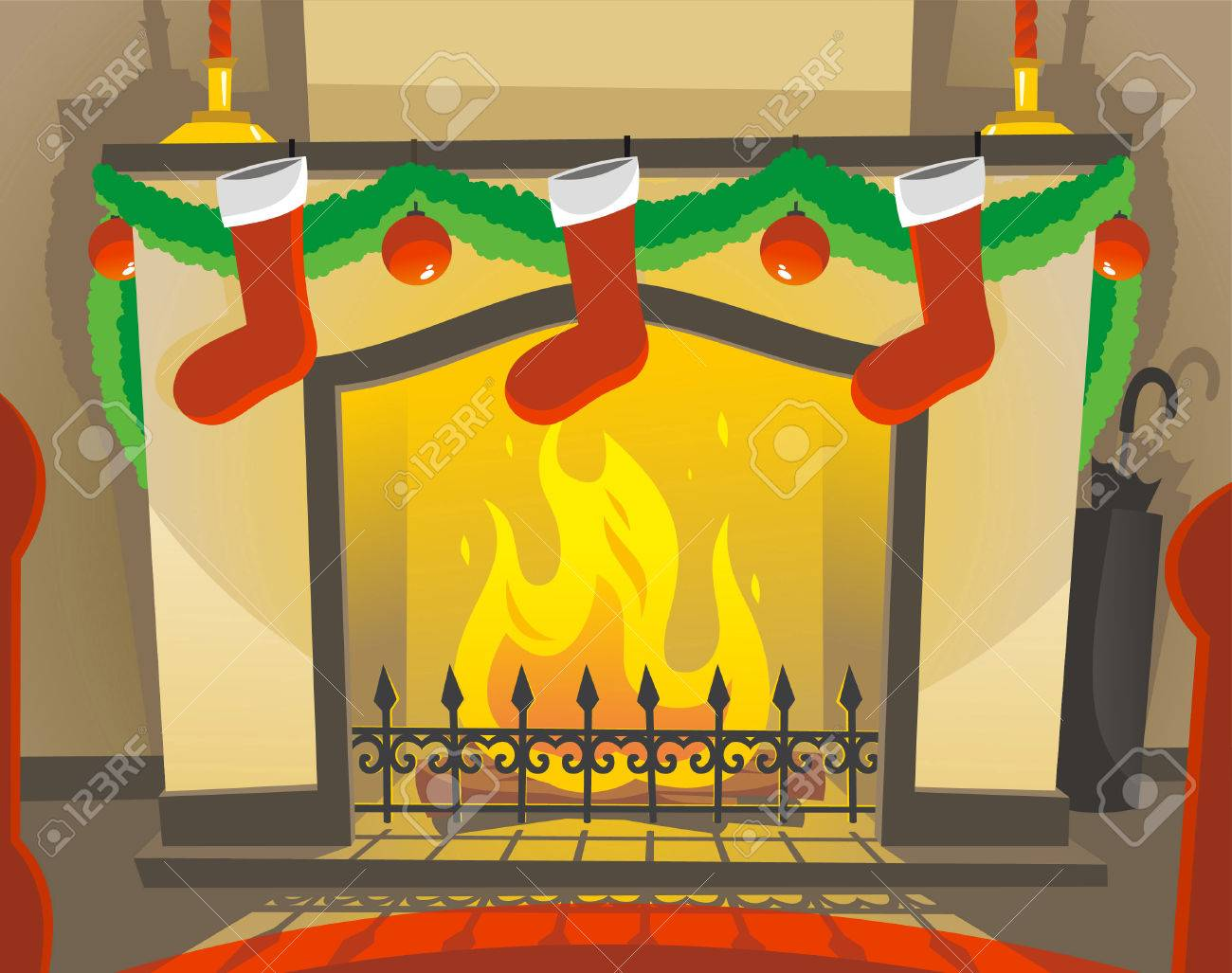 2,248 Christmas Fireplace Decoration Stock Vector Illustration And ...