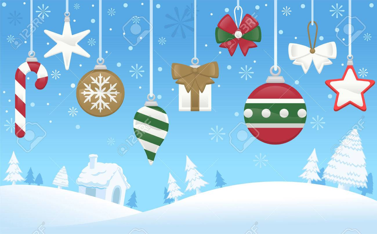 north pole christmas tree decoration scene stock vector 33788555