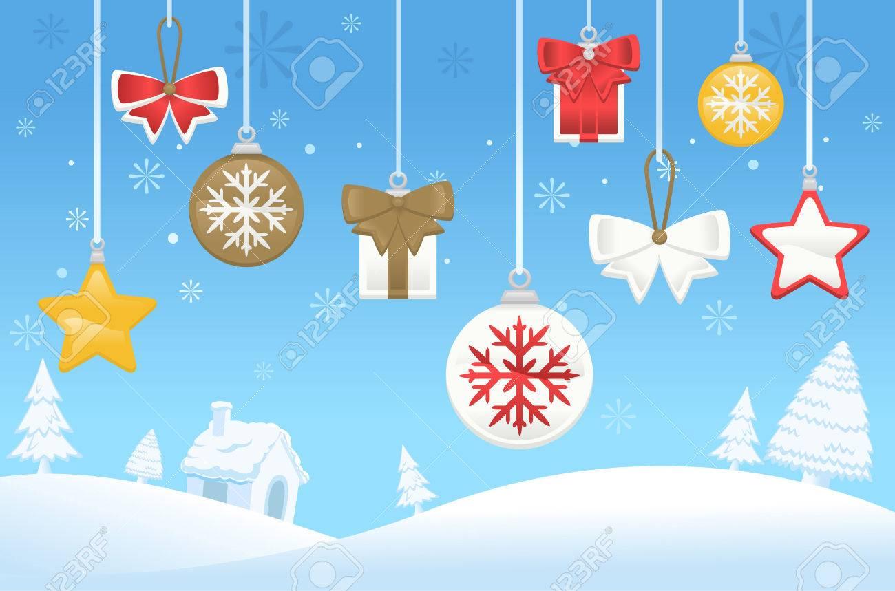 North Pole Christmas Tree Decoration Scene Royalty Free Cliparts ...