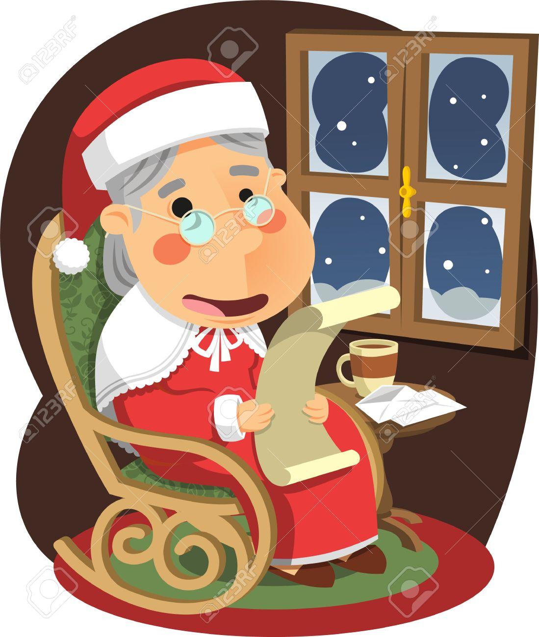 Mother Christmas Cartoon.Mrs Claus Mother Santa Christmas Vector Illustration Cartoon
