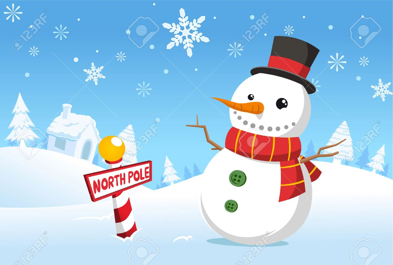 North Pole Christmas Snowman Royalty Free Cliparts, Vectors, And ...