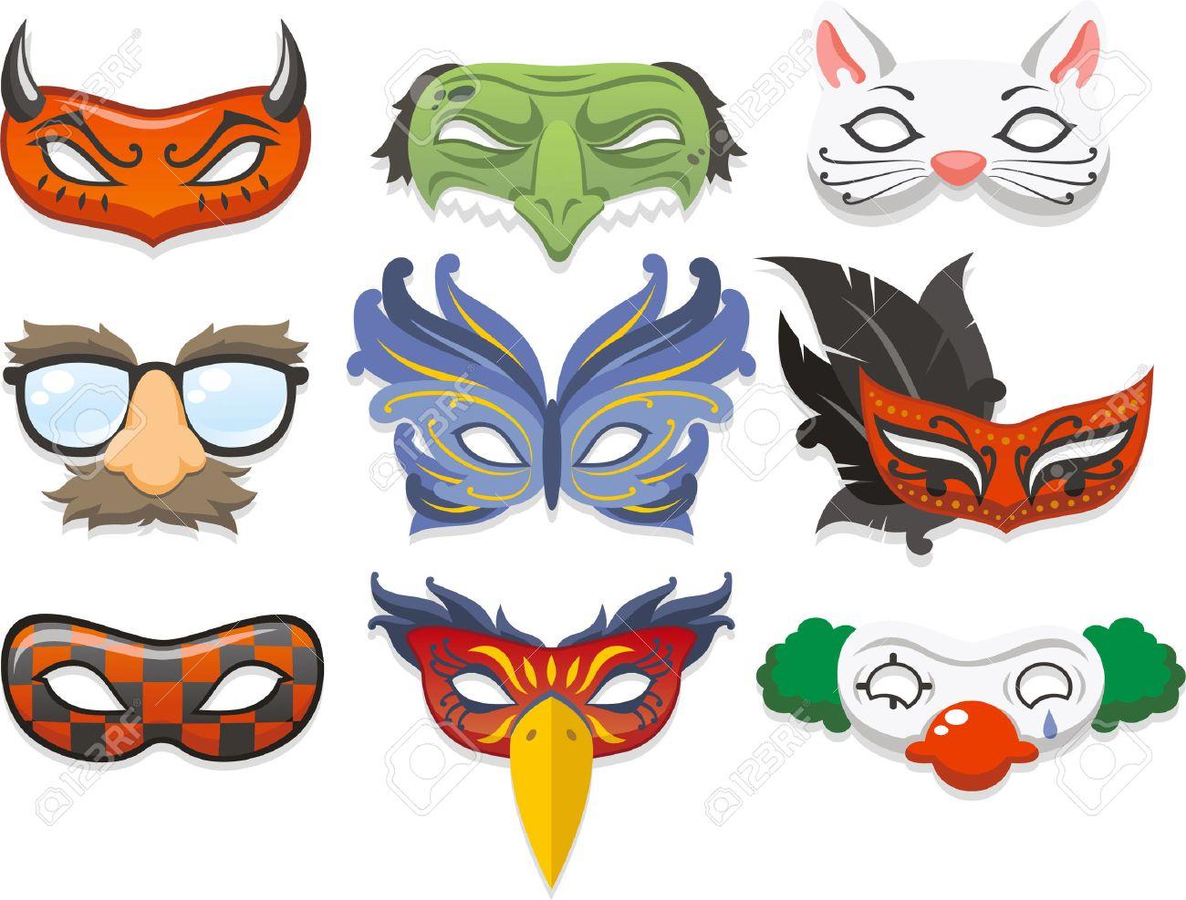 Halloween Costume Mask Cartoon Illustration Icons Royalty Free ...