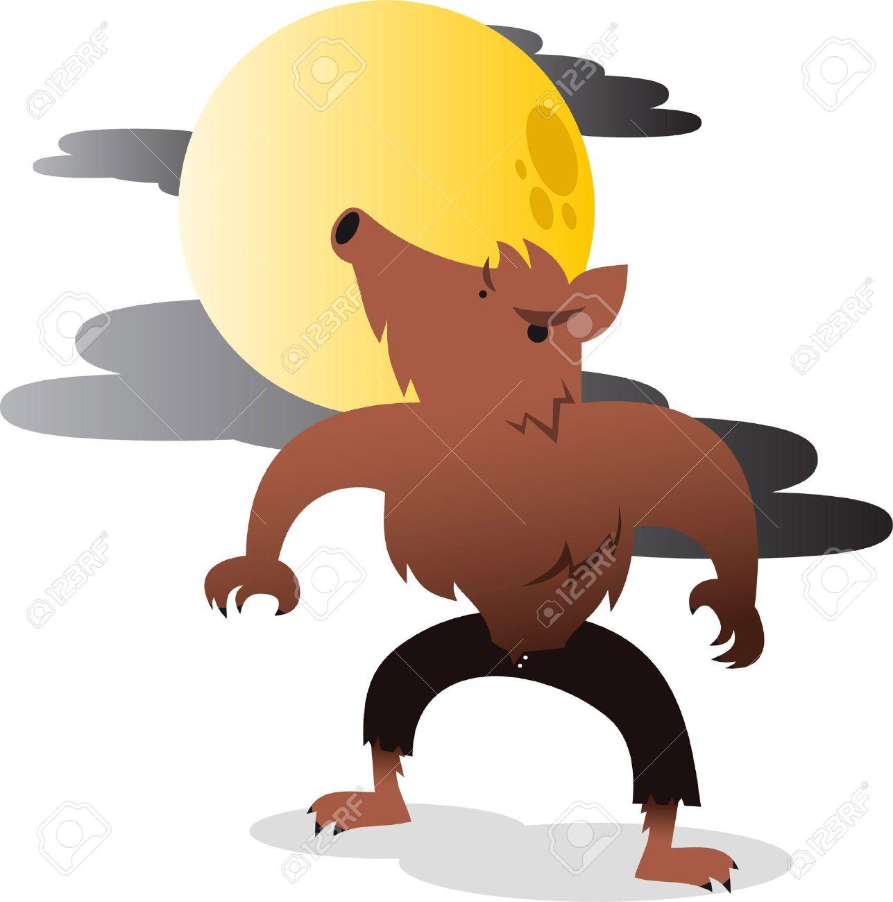 Hombre Lobo Aullando A La Luna Ilustración De Dibujos Animados De