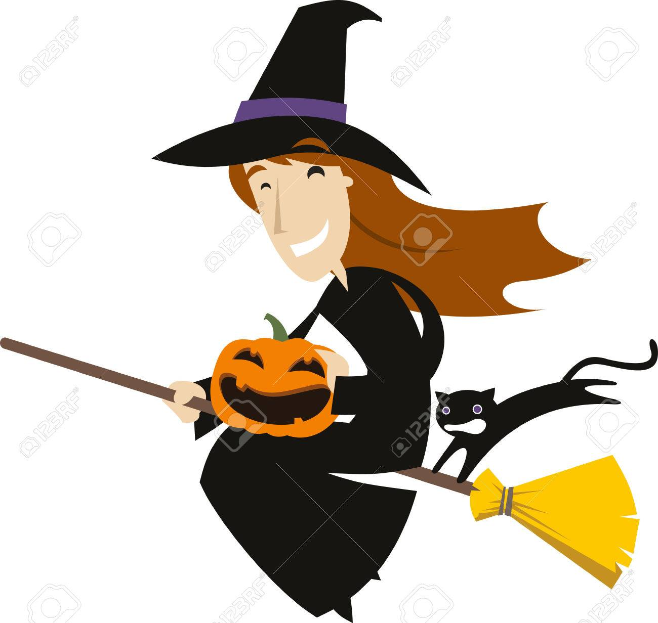 halloween broom flying witch hat with pumpkin and black cat stock vector 33789268