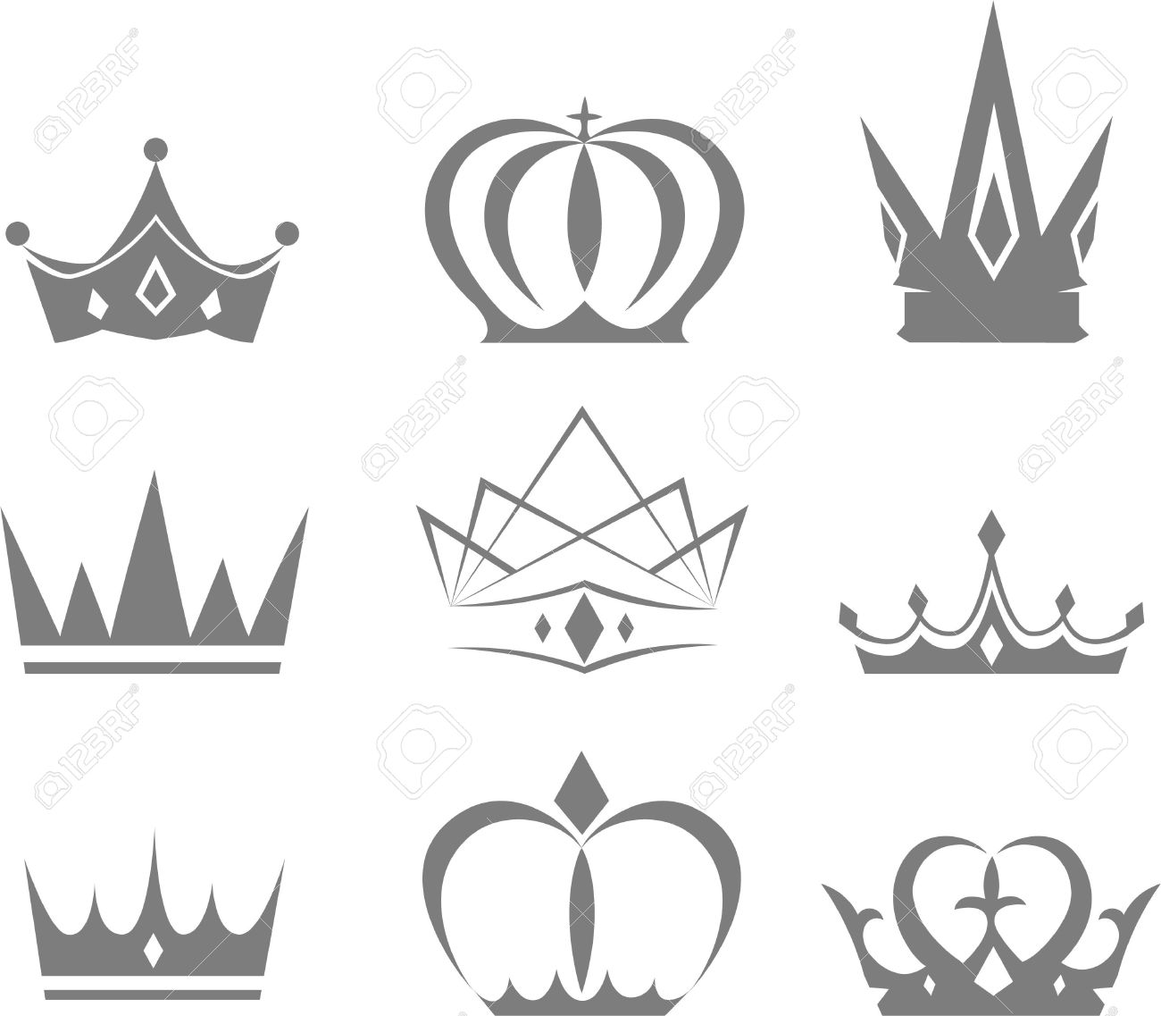 Et Of Different Styles Of Crowns Vector Designs Stock Vector   33827598