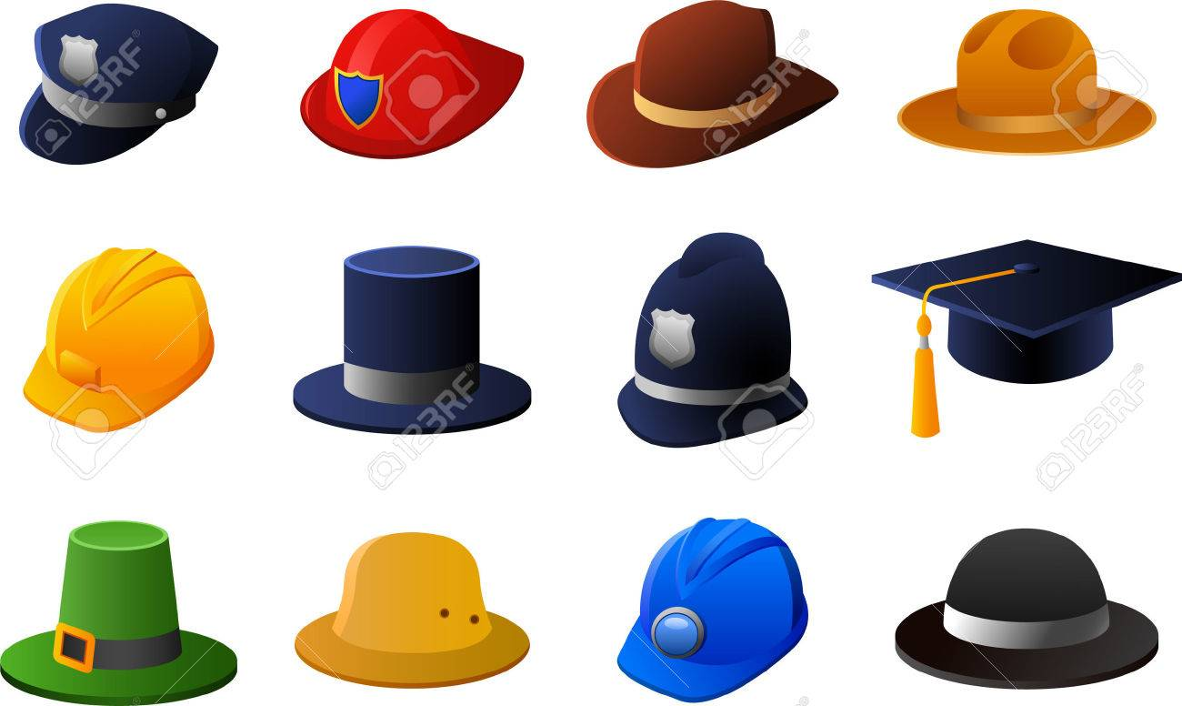 hats and helmets collection with policeman hat fireman hat