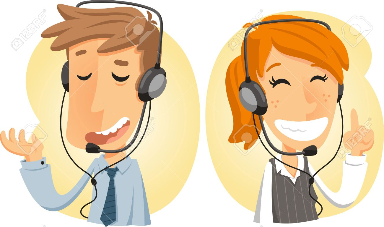 Costumer Service Call Center Operator On Duty, With Both Man ...