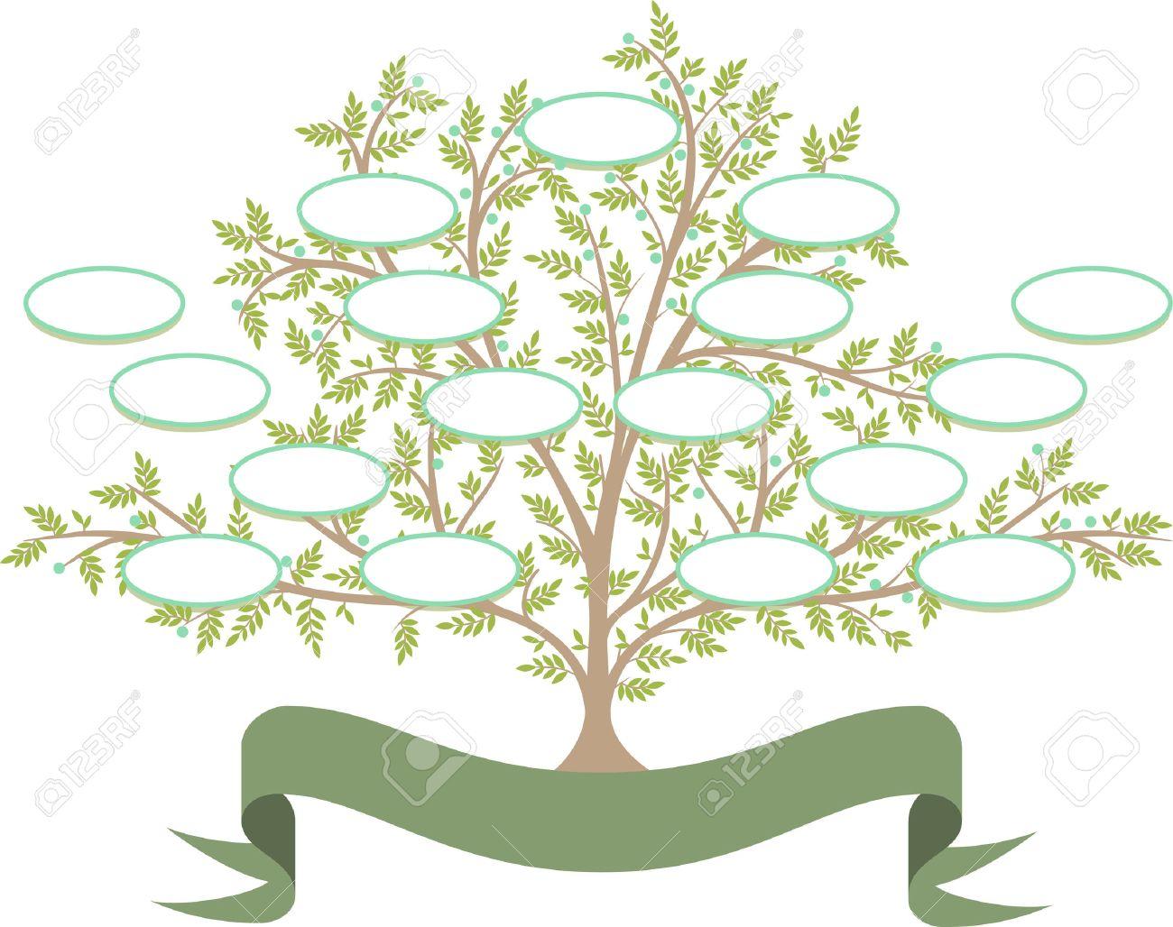 Vector El árbol De La Familia Con Espacios En Blanco Para Rellenar ...