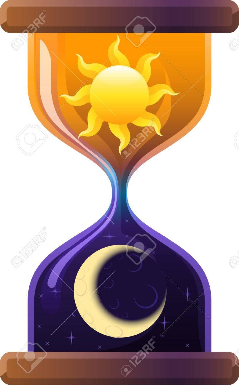 Reloj De Arena Sol Y Luna Reloj De Arena Arena Reloj Ilustración
