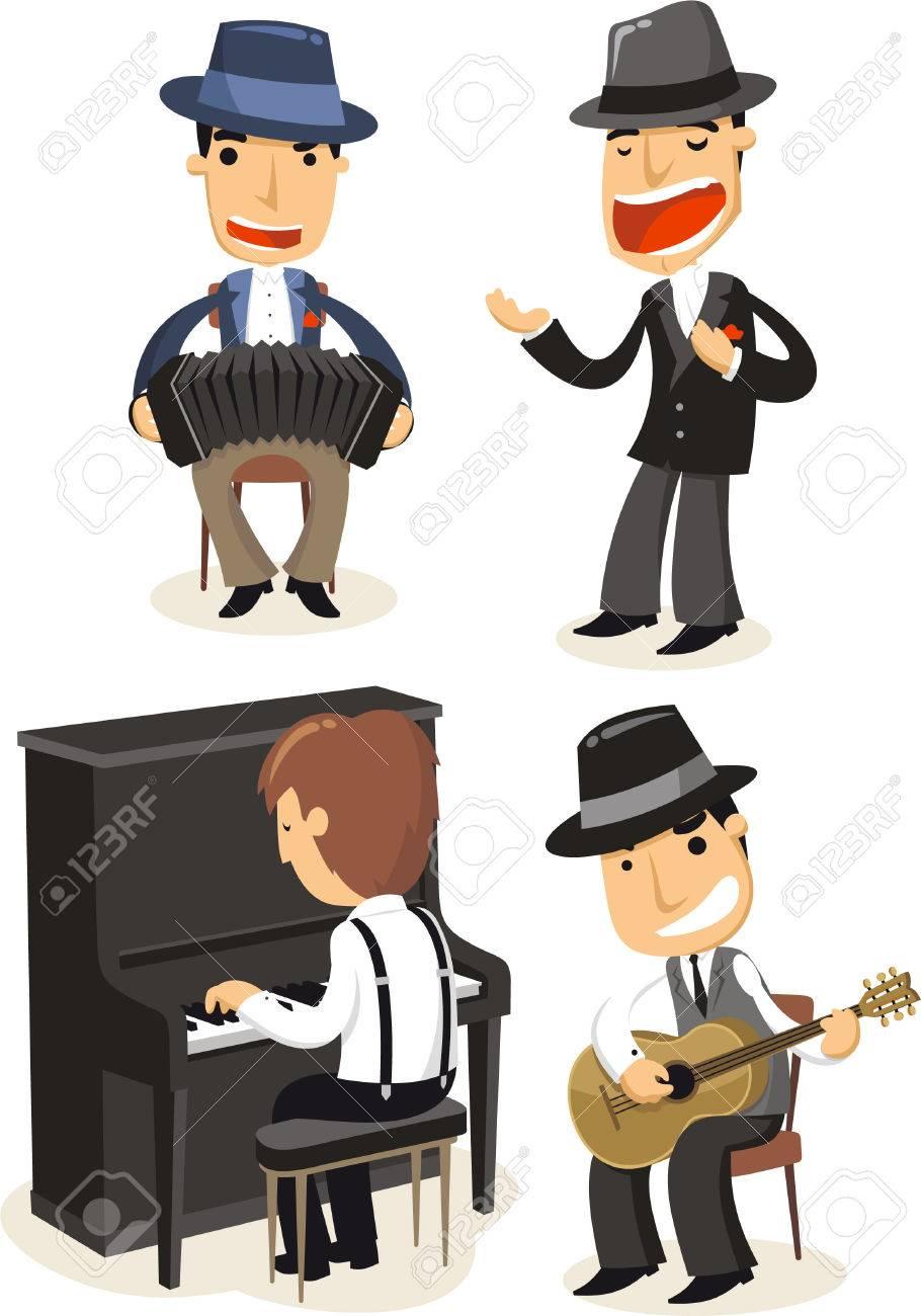 Músicos Cartoon Tango Tocando Instrumentos. Ilustraciones ...