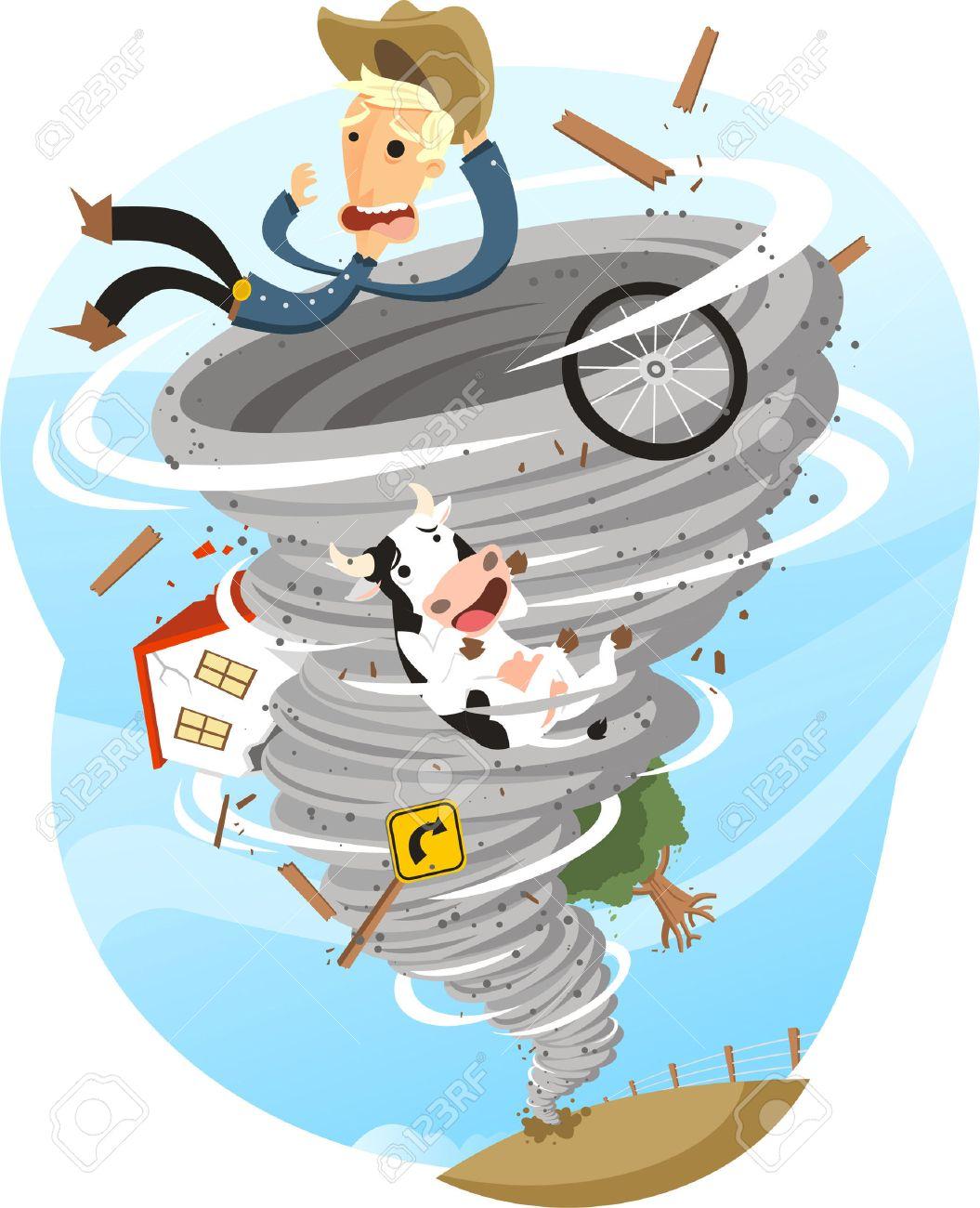 Tornado Storm Twister Cloud Wind Rain Weather, vector illustration cartoon. - 33995606