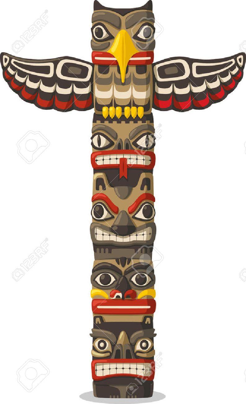 Totem être objet plante symbole de famille de l'animal de représentation tribu du clan, illustration bande dessinée.