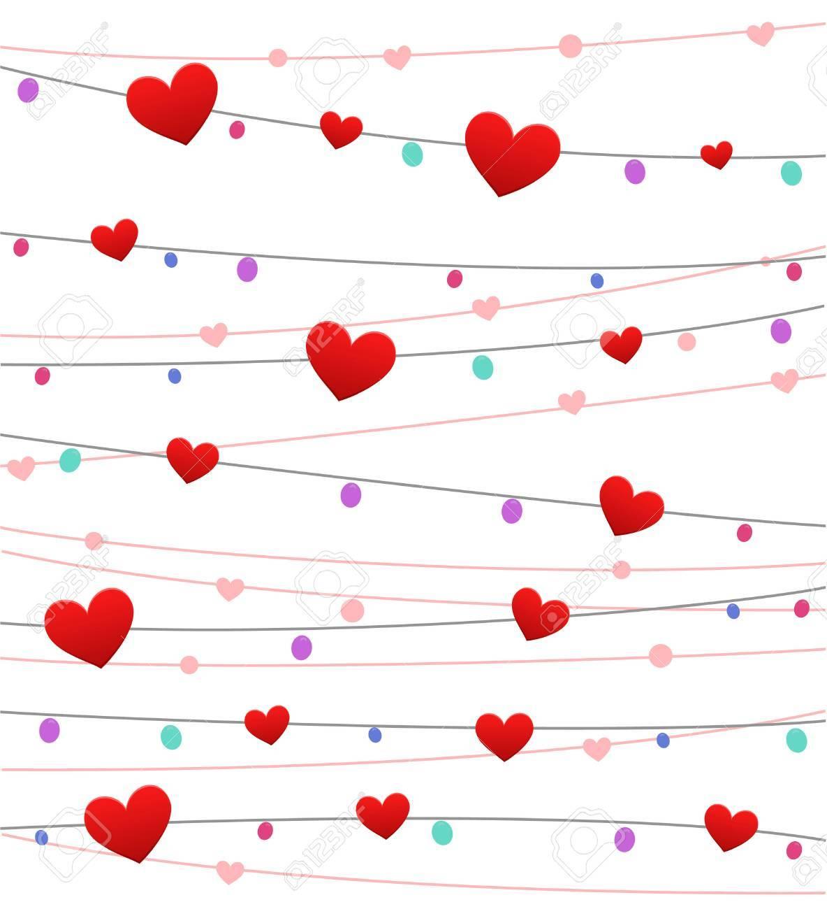 San Valentin Dia Colgando Corazones Decoracion Fondo Ilustraciones - Corazones-de-decoracion