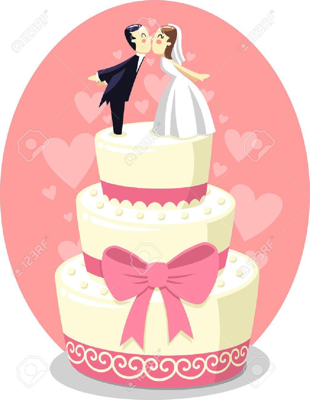 Hochzeitstorte Mit Braut Und Brautigam Figuren Vektor Illustration