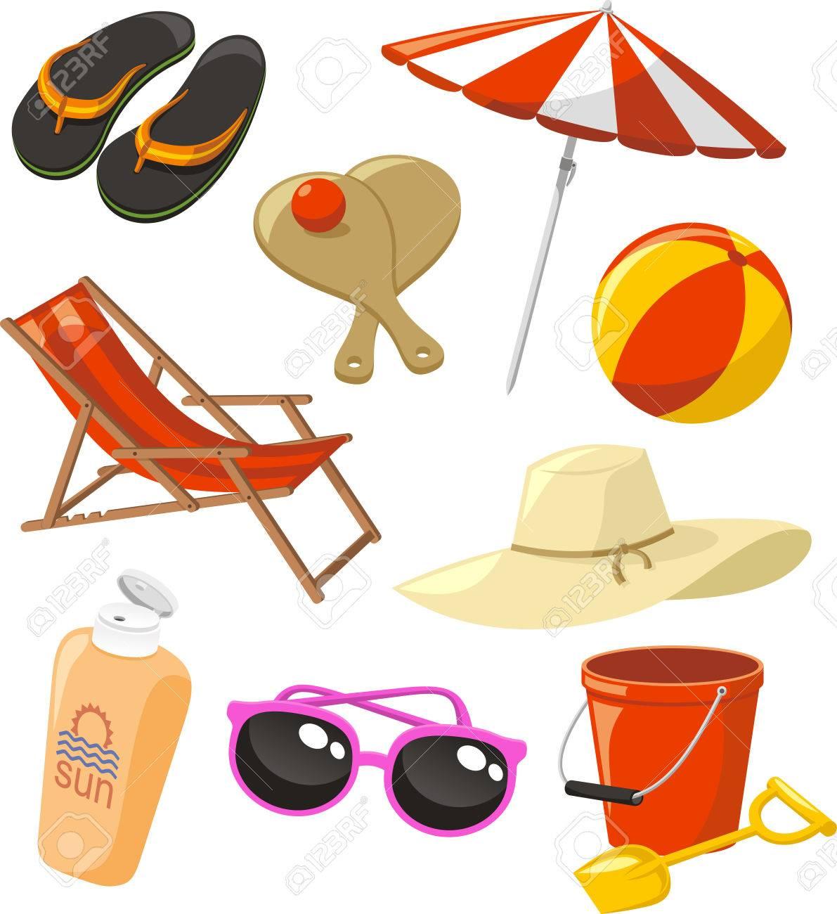Flip Flop Chair Beach Set Icons With Flip Flop Sandals Beach Tennis Beach