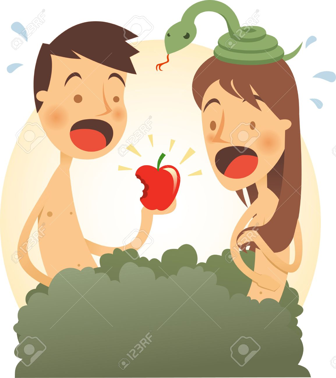 adam and eve cartoon illustration royalty free cliparts vectors