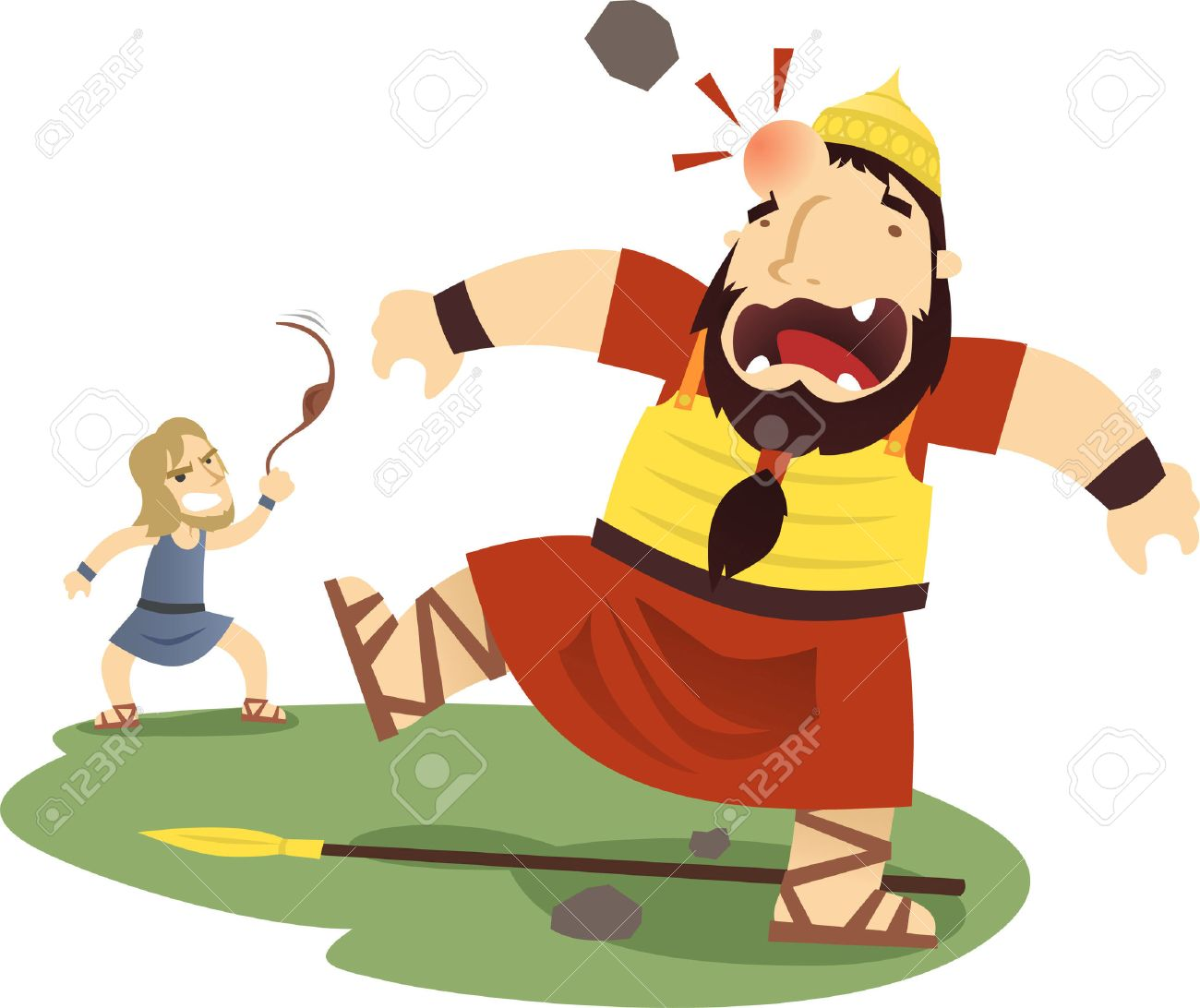 david and goliath cartoon illustration royalty free cliparts