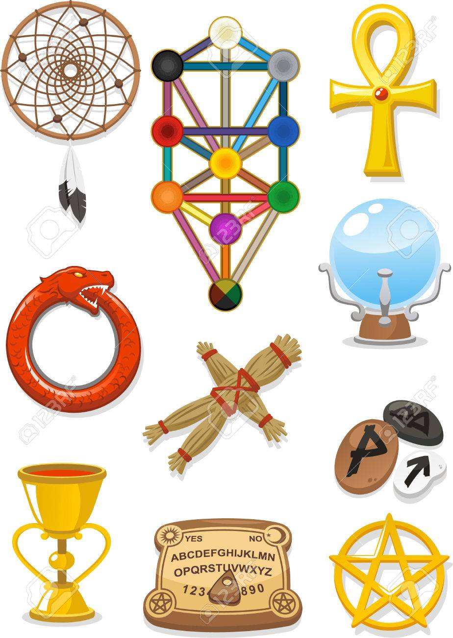 magical elements cartoon icons royalty free cliparts vectors and