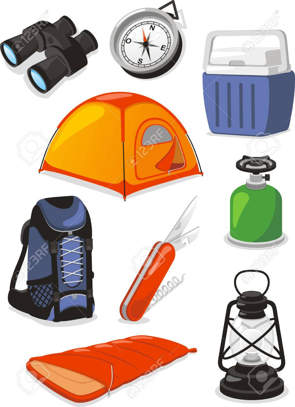 Camping Outdoors Icons, with swiss army knife, knife, cooler,