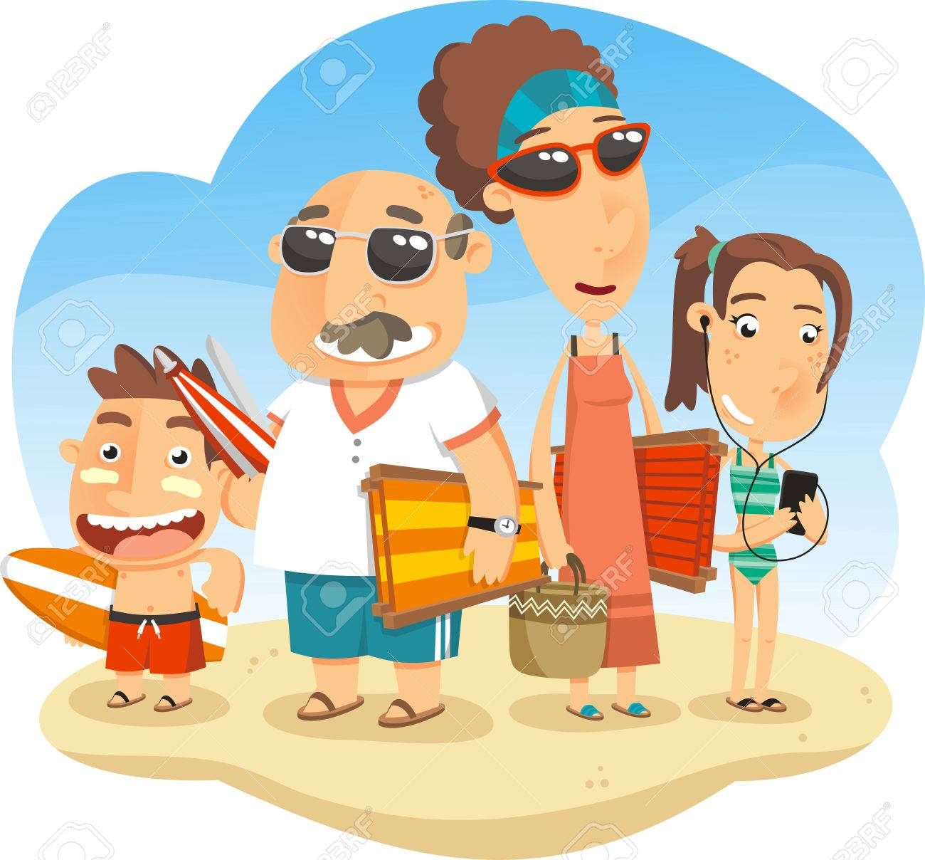 Kids Swimming At Beach Clipart Family Vacationing The With Parents And All Suit Sandal