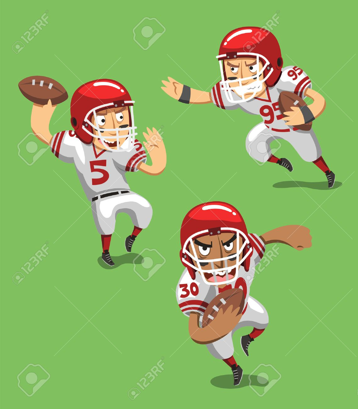 American Football Player With Ball In Field Vector Illustration