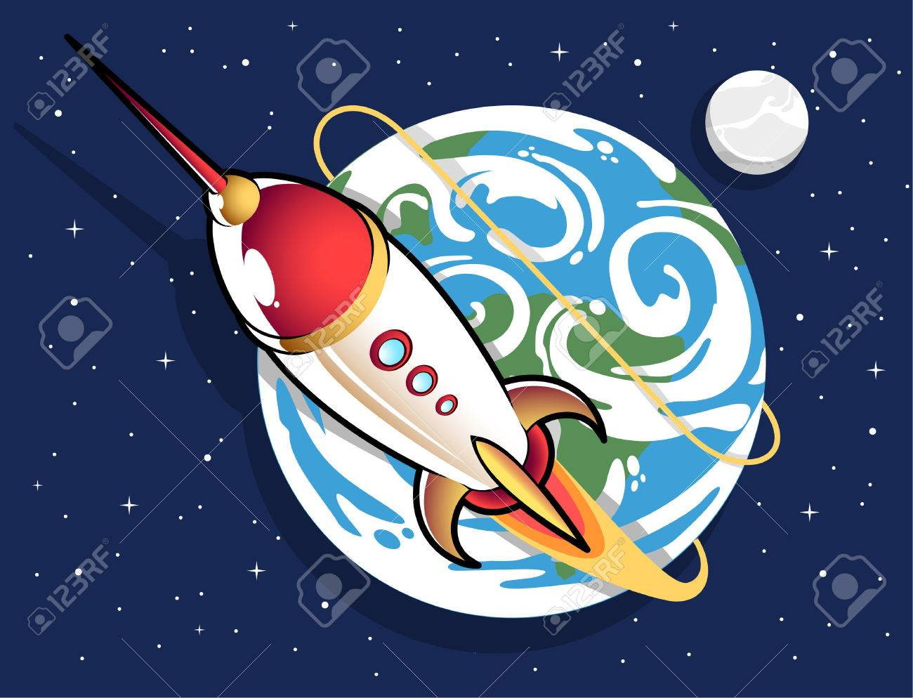 space rocket out of earth cartoon royalty free cliparts vectors