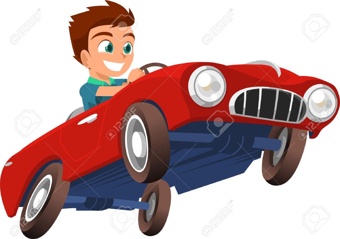 Little Boy Driving Red Sports Car Vector Illustration Cartoon