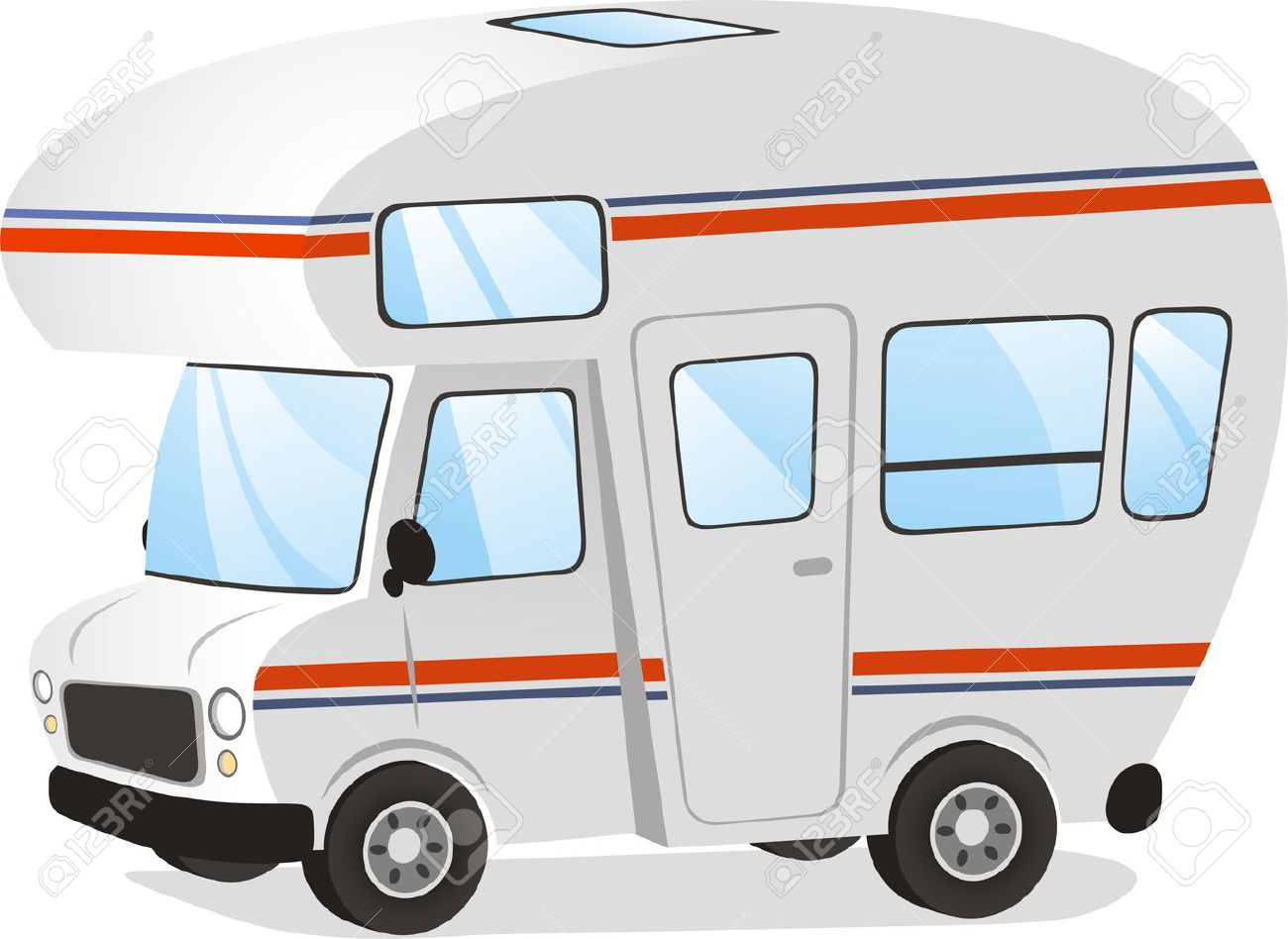 Mobile Home Motorhome Caravan Trailer Vehicle Vector Illustration Cartoon Stock