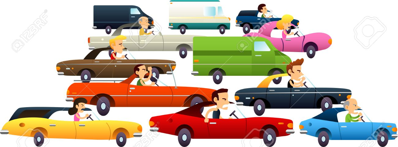 Traffic jam with cartoon cars and really angry and annoyed characters. Vector Illustration Cartoon. - 34229893
