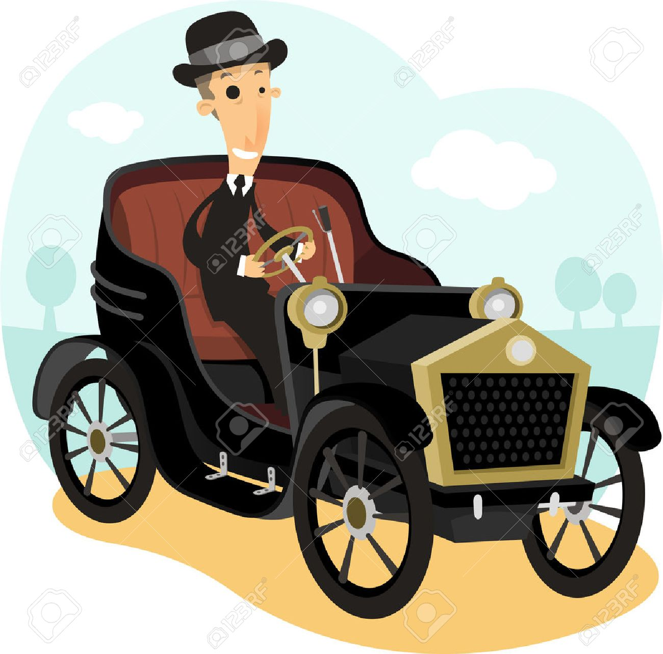 Antique Collector Car,with Driver Wearing A Suit And Bowler Hat ...